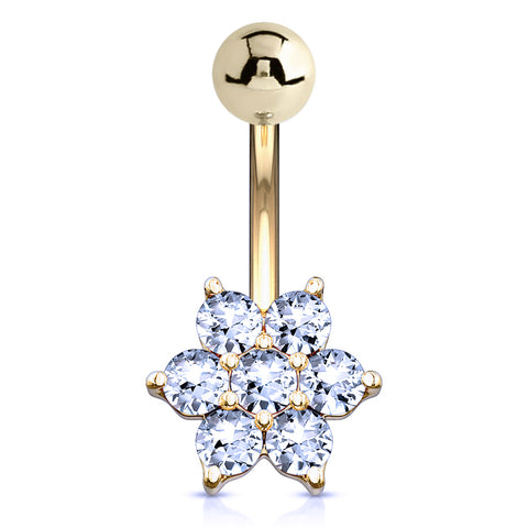 14K Gold Flower Belly Ring - Fixed (non-dangle) Belly Bar. Navel Rings Australia.