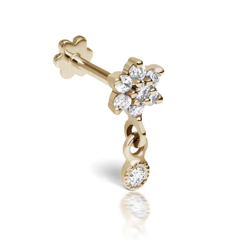 Dangly Diamond Flower Earring by Maria Tash in 14K Yellow Gold. Flat Stud. - Earring. Navel Rings Australia.
