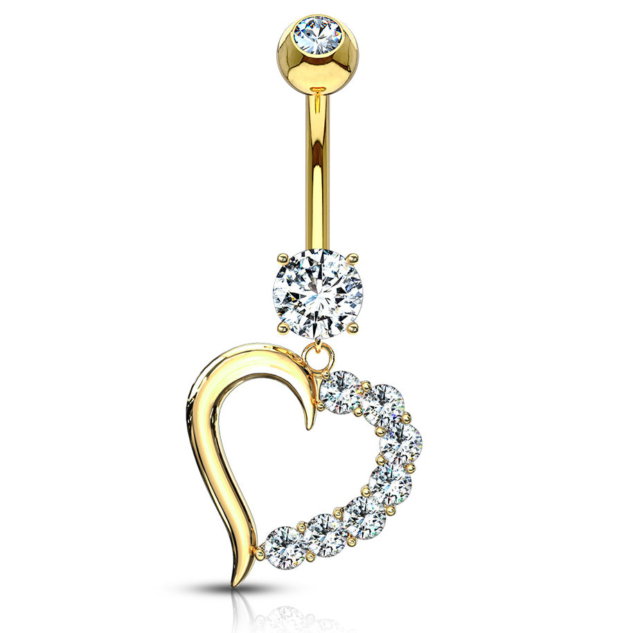 14K Yellow Gold CZ Heart Navel Bar - Dangling Belly Ring. Navel Rings Australia.