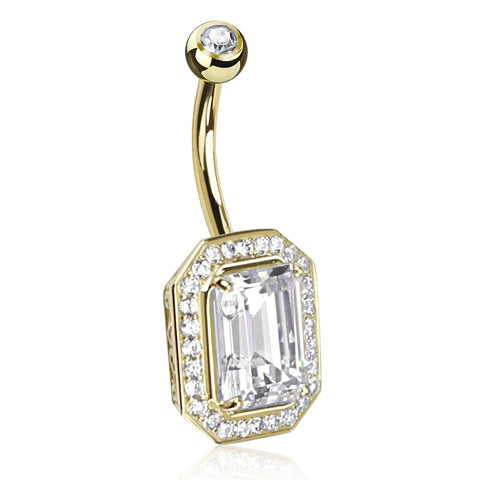 14K Gold Princess Cut Navel Bar