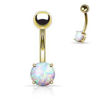 Gold Sabella Prong Opal Belly Ring - Basic Curved Barbell. Navel Rings Australia.