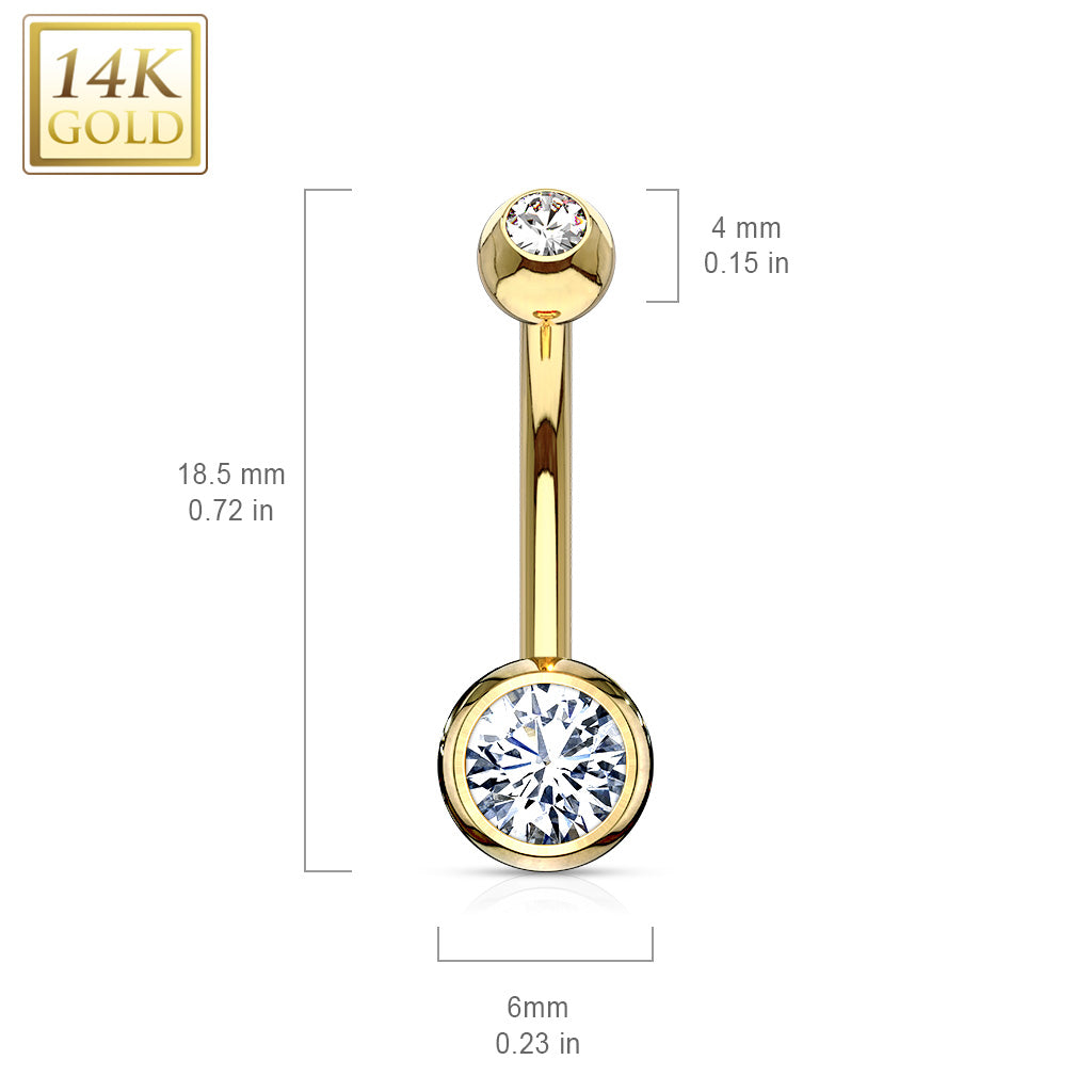 Fixed (non-dangle) Belly Bar. Navel Rings Australia. 14K Gold Classique Bezel Set Belly Ring