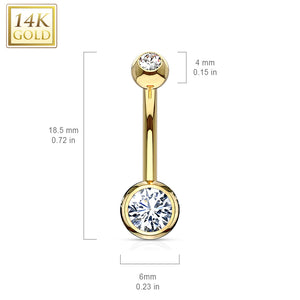 14K Gold Classique Bezel Set Belly Ring - Fixed (non-dangle) Belly Bar. Navel Rings Australia.