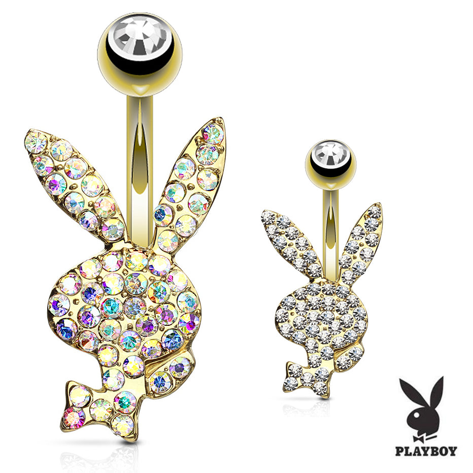 Official ©Playboy Motley Belly Rings in Gold - Fixed (non-dangle) Belly Bar. Navel Rings Australia.
