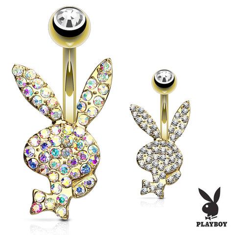 Fixed (non-dangle) Belly Bar. Belly Rings Australia. Official ©Playboy Motley Belly Rings in Gold