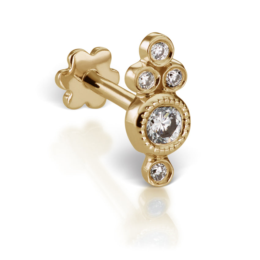 Four Diamond Trinity Earring by Maria Tash in 18K Yellow Gold. Flat Stud. - Earring. Navel Rings Australia.