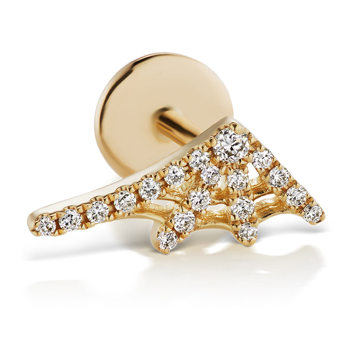 Authentic Diamond Web Earring by Maria Tash in 14K Yellow Gold. Flat Stud. - Earring. Navel Rings Australia.
