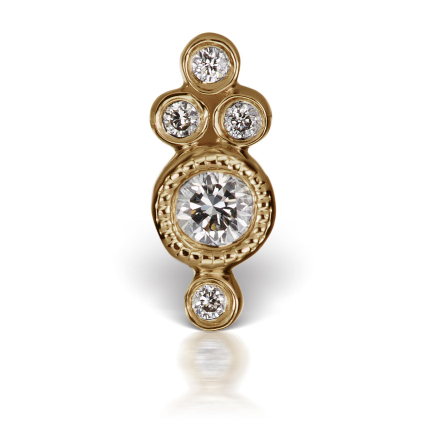 Earring. Cute Belly Rings. Four Diamond Trinity Earring by Maria Tash in 18K Yellow Gold. Flat Stud.