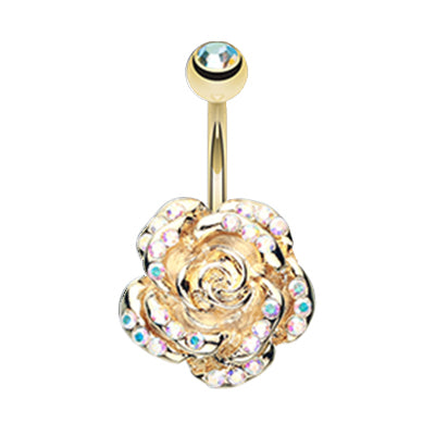 Fixed (non-dangle) Belly Bar. Belly Rings Australia. Aurora Zen Rose Belly Bar in Gold