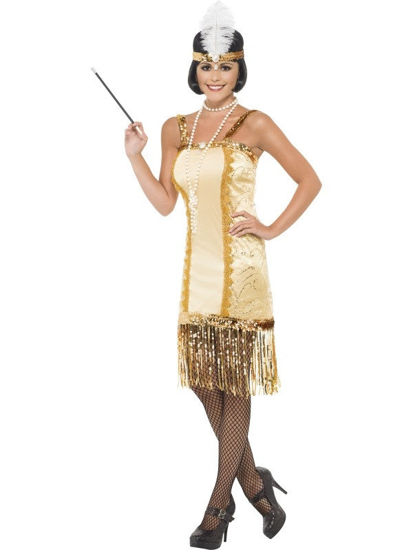 Adult 1920/'s Coco Flapper Costume Great Gatsby Ladies Womens 20s Fancy Dress