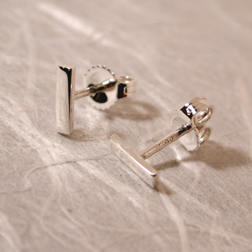 7mm sterling silver bar stud earrings high polish