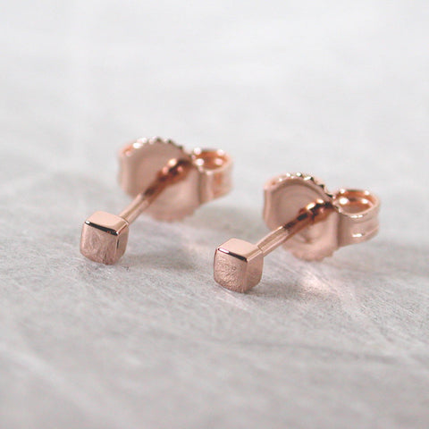 2mm 14k rose gold square stud earrings minimalist studs