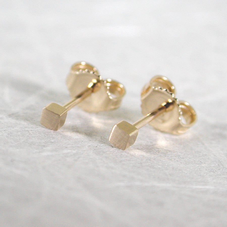 2mm square studs 14k yellow gold brushed