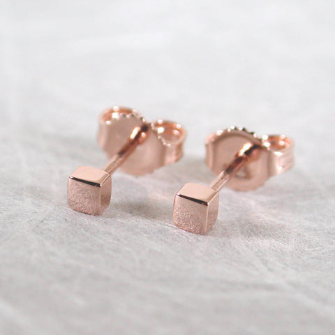 14k rose gold square stud earrings 2.5mm minimal studs high polish