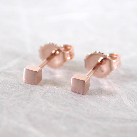 14k rose gold square stud earrings 2.5mm brushed