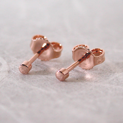 2mm 14k rose gold stud earrings high polish minimal studs