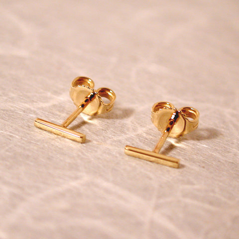 7mm 18k gold bar studs yellow gold earrings high polish