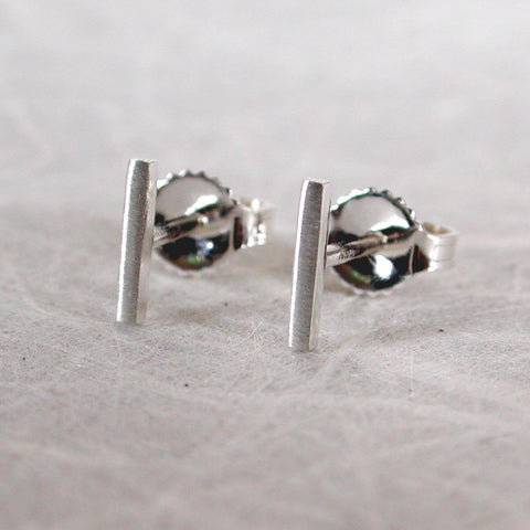 7mm Brushed Thin Silver Bar Stud Earrings