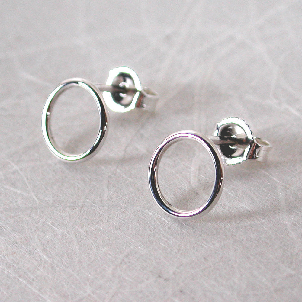 sterling silver open circle earrings 8.5mm high polish