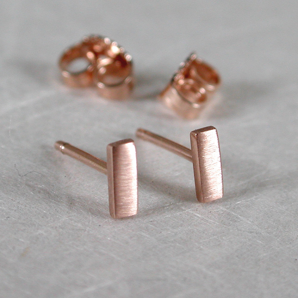 14k rose gold bar stud earrings 5mm x 2mm brushed