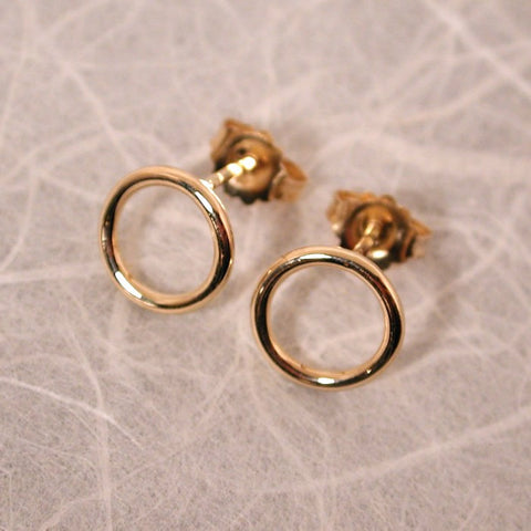 8.5mm open circle studs 14k yellow gold high polish