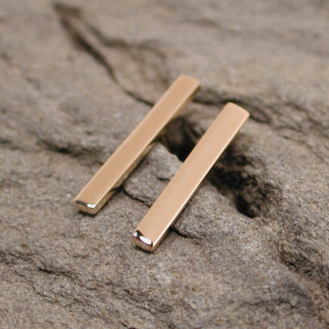 15mm 14k yellow gold bar earrings