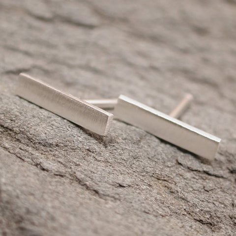 10mm Modern Sterling Silver Brushed Bar Earrings