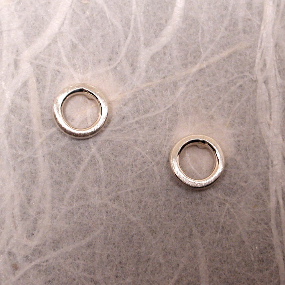 5mm open circle stud earrings sterling silver brushed