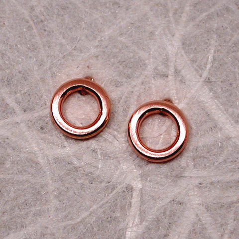 5mm 14k rose gold open circle stud earrings