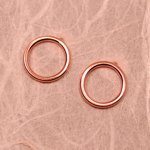 brushed 14k rose gold circle hoop stud earrings 8.5mm round