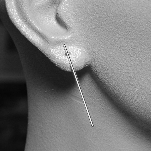 40mm sterling silver line earrings high polish