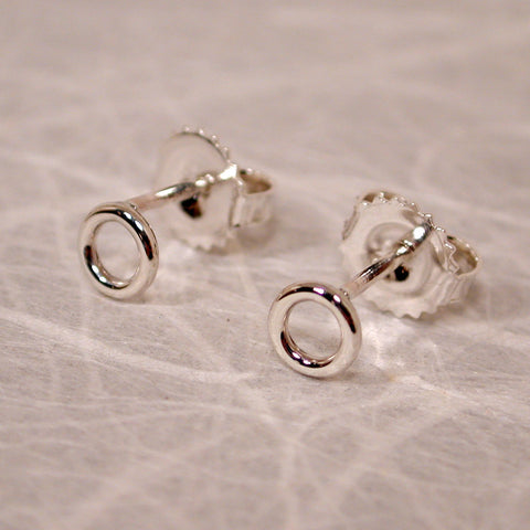 5mm sterling silver open circle earrings high polish