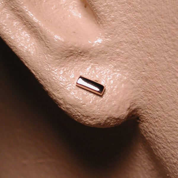 5mm 14k rose gold bar stud earrings