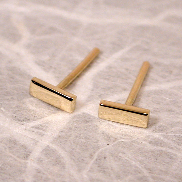 18k yellow gold bar studs 5x2