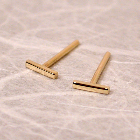 tiny gold bar earrings 18k yellow gold high polish