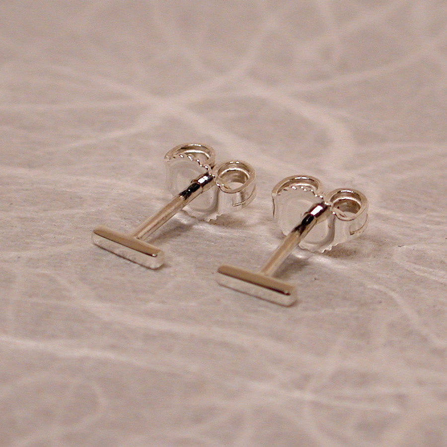 5mm bar stud earrings sterling silver with high polish finish