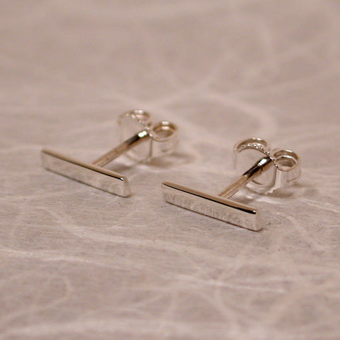 10mm x 2mm sterling silver bar stud earrings high polish