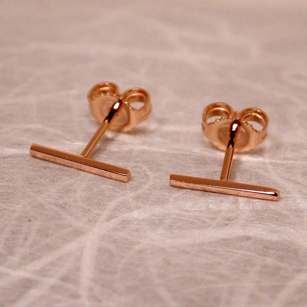10mm x 1mm 18k rose gold bar stud earrings high polish