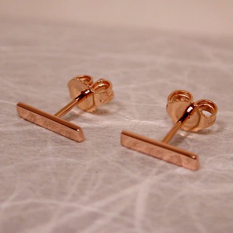 10mm x 2mm 18k rose gold bar stud earrings high polish