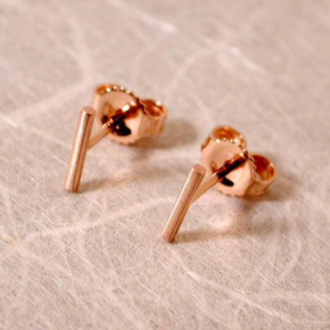 14k rose gold bar stud earrings 7mm x 1mm brushed