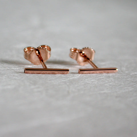 14k rose gold bar earrings 10mm