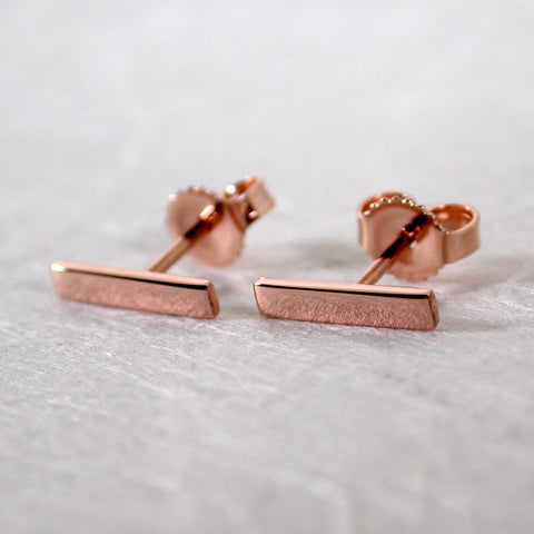 10mm 14k rose gold bar stud earrings