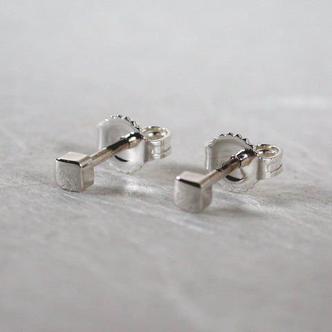 2.5mm earrings tiny square studs sterling silver