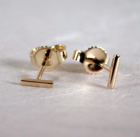 teeny tiny 14k yellow gold bar stud earrings 5mm