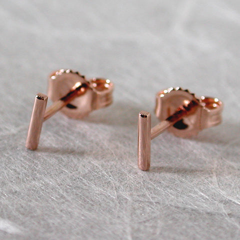 5mm 14k rose gold bar studs