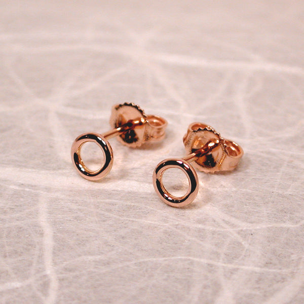 5mm round 18k rose gold stud earrings high polish