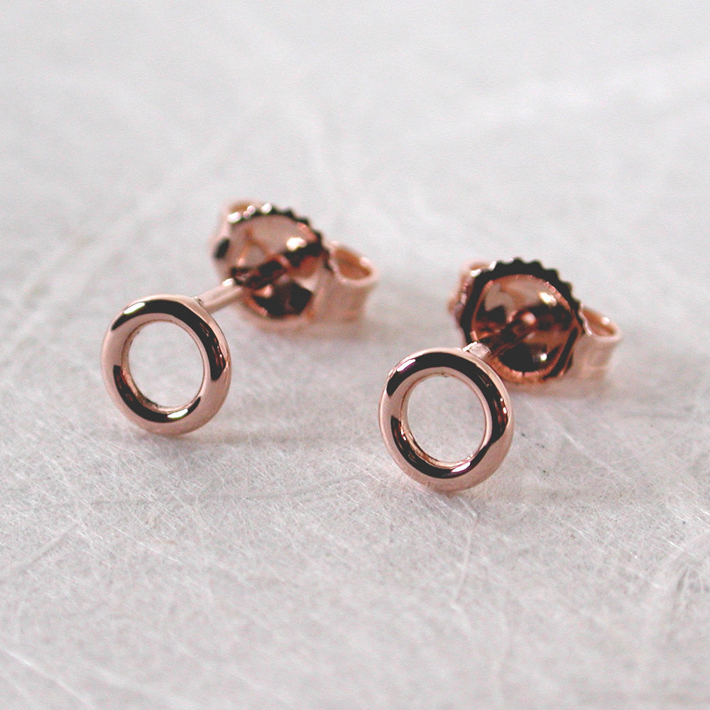 5mm 14k rose gold open circle stud earrings high polish