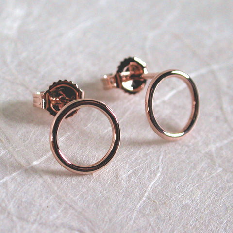 8.5mm 14k rose gold open circle stud earrings