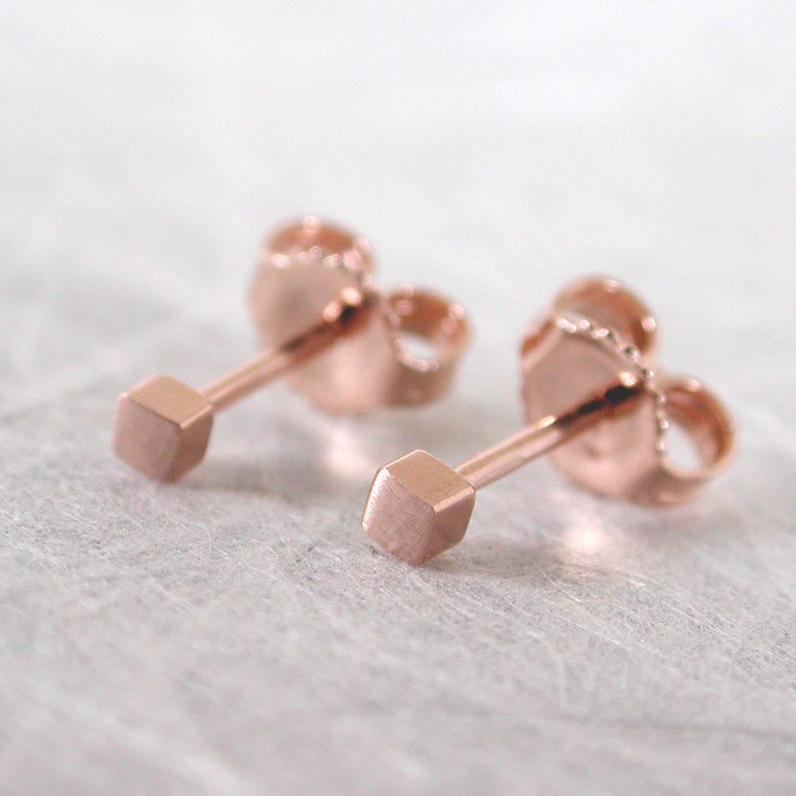 14k rose gold square stud earrings 2mm brushed