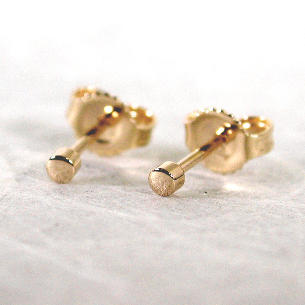 2mm round gold studs 14k yellow gold high polish